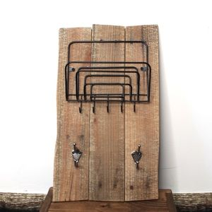 Rustic Handcrafted Wood Wire Hanging Mail Key Rack